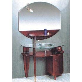 Contemporary glass vanity.  Amazon