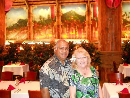 My husband and I at the Fine Dining Venue at the Polynesian Cultural Center.
