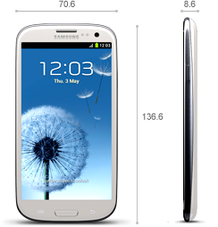 The Samsung Galaxy SIII is the current leading Android flagship showing the trend of smartphones getting larger due to larger displays.