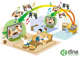 DLNA (Digital Living Network Alliance) is a non-profit trade organization established by Sony dealing with interoperability between devices for sharing different kinds of media like images, music or video.