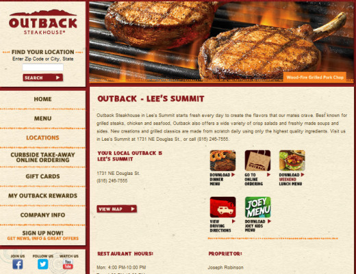 Lee's Summit, Missouri location with downloadable menus.
