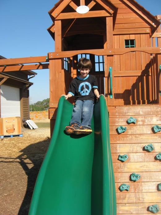 Tristan on the slide