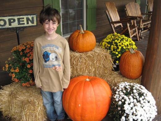 Tristan vs. a big pumpkin