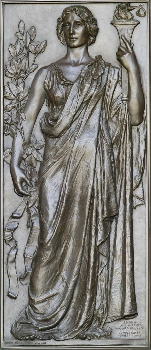 "Basrelief sculpture ""Research holding the torch of knowledge"" (1896) by Olin Levi Warner. Library of Congress Thomas Jefferson Building, Washington, D.C."