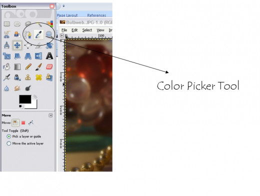 The color picker tool in GIMP.