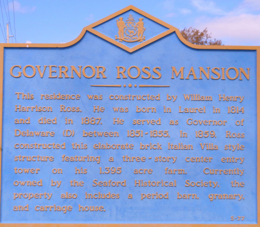 The Governor Ross Mansion Plaque is a historical marker visible as one enters the grounds.