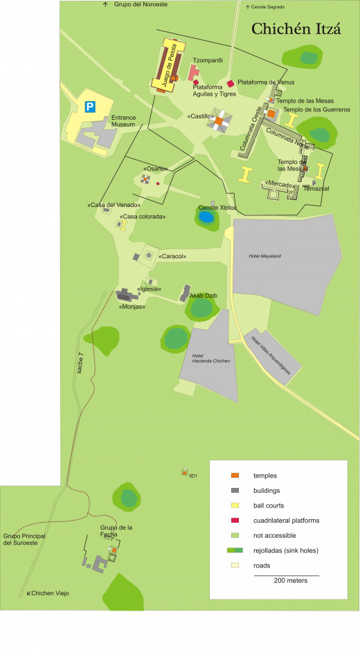 Map of the ruins at Chichen  Itza today.