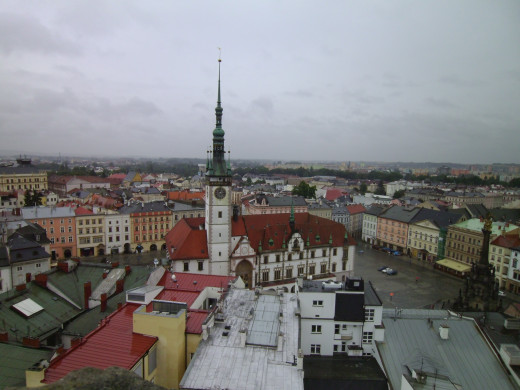 View of Olomouc Town Hall and Holy Trinity Column from the roof of St. Maurice church
