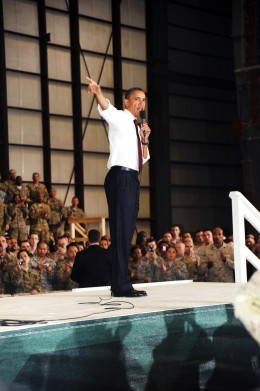 U.S. President Barack Obama addresses troops on Bagram Airfield in Afghanistan's Parwan province, May 2, 2012. U.S. Navy photo by Bill Gowdy