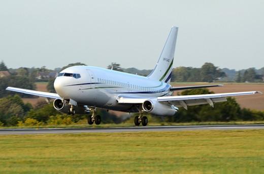 Jet Lands at Luton Airport