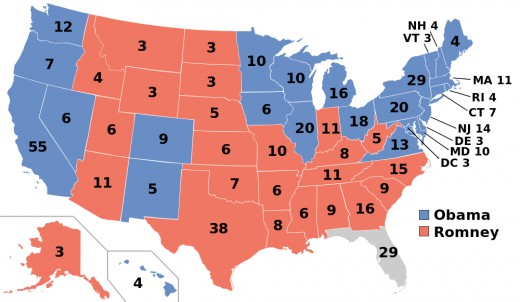 Presidential election results map. Blue denotes states/districts won by Obama/Biden, and Red denotes those won by Romney/Ryan. Numbers indicate electoral votes allotted to the winner of each state.