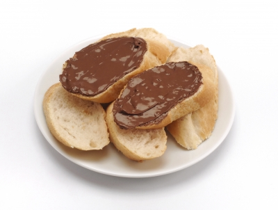 Bread and a chocolate spread, like Nutella. Yummy!
