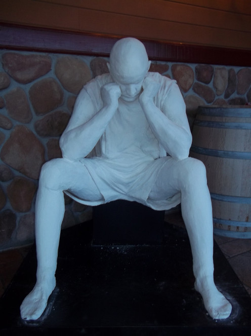 "This work of art was created by Donna Mae Lee...local artist...the piece is called ""Isolation"". Stephen Cipes called it ""Thinking Man""...I call the whole thing exciting...it's good to think in isolation."