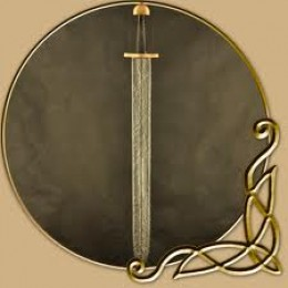 Larp, or short-sword could be hidden behind a shield, ready to draw