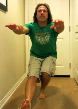 Dropping slowly into a full single leg squat (pistol.)