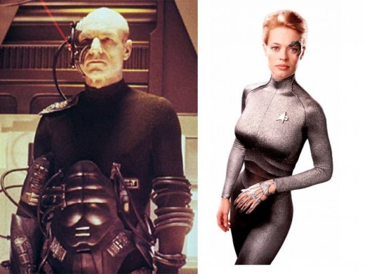 Jean-Luc Picard Borg (Patrick Stewart) and 7 of 9 (Jeri Ryan)