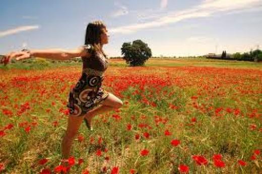Girl Walking Poppy Field