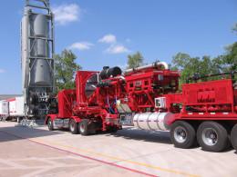 Pump trailer for oilfield stimulation work