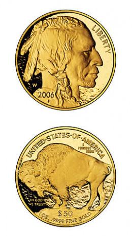 A 1 ounce 2006 American gold buffalo proof coin (face value $50), bullion value exceeding $1600 as of Nov. 8, 2012