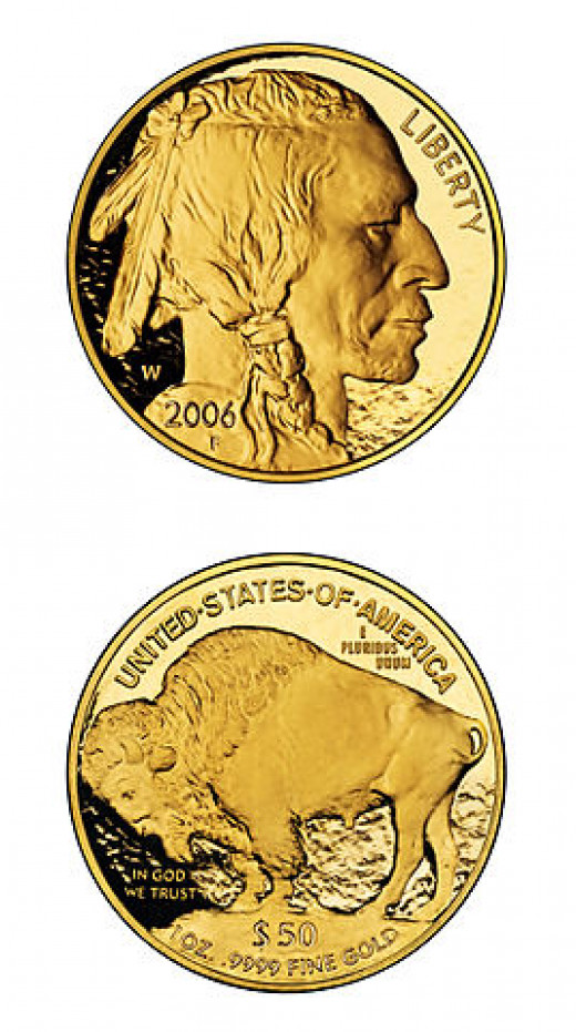 A 1 ounce 2006 American gold buffalo proof coin (face value $50), bullion value exceeding $1600 as of Nov. 8, 2012