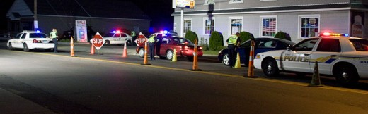 Vehicle checkpoint looking for impaired drivers