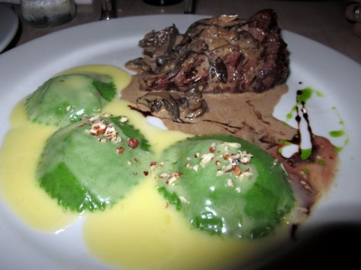 Homemade Spinach Ravioli & Beef Tenderloin