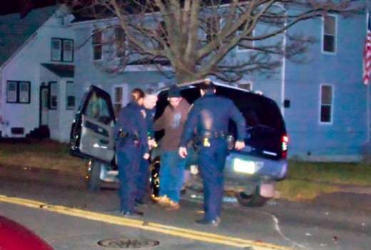 Officers performing a field sobriety test
