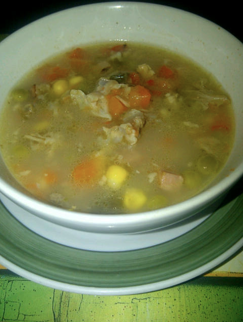 Picture may not do justice but this soup will certainly keep you warm and hang-over be gone!
