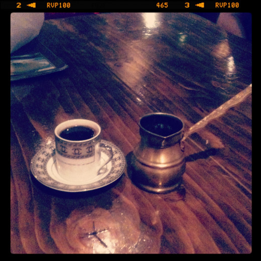 Moroccan coffee, it came in that little tiny jug that they heat on a flame! Can Zaman