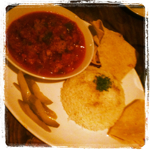 My mothers tomato and lamb curry - it was beautiful. At Can Zaman