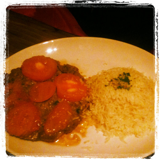 My sisters lamb and vegitable pattie type thing at Can Zaman