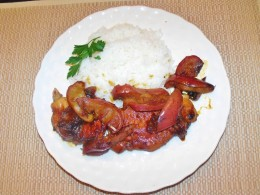 Served with fluffy white rice and garnish.  Yum!