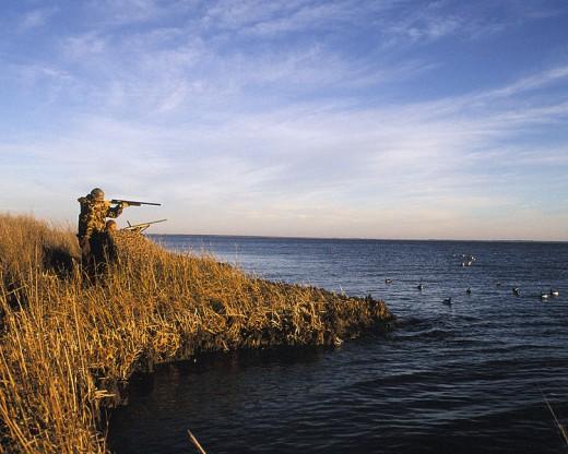 A duck hunter. Wonder if he's using a Duck Commander duck call?