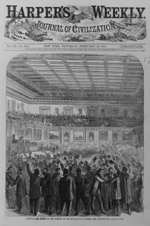 The February 18, 1865 issue of Harper's Weekly showed the House Chamber after the  passage of Amendment XIII.