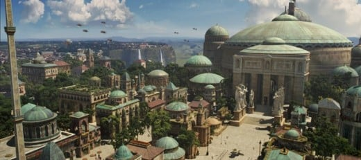 This is Theed, the capital city of Naboo, which was devastated by the Mandalorians at the start of this story.