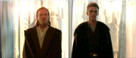 In this version of the prequel trilogy. This is how Obi Wan Kenobi (left) and Anakin Skywalker (right) look at the start of this story. Anakin is around 20, while Obi Wan is maybe 30.