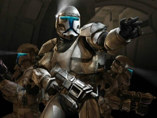 Mandalorian warriors trying desperately to defend their primary cloning facility from the Republic.