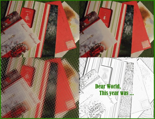 Artistic treatments of a pile of Christmas cards plus the beginning words of the annual letter.
