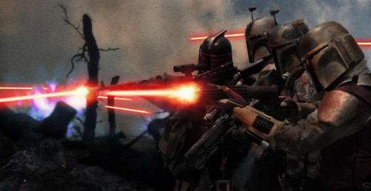 Mandalorian soldiers charge against their Republican counterparts.