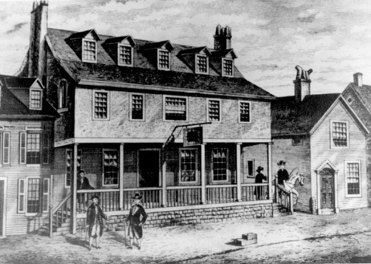 Sketch of Tun Tavern in the Revolutionary War, birthplace of the Continental Marines, from which is descended the USMC.  This is a sketch of the place that the marines used to go to.