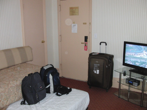 View of the room in Hotel Wolcott with luggage