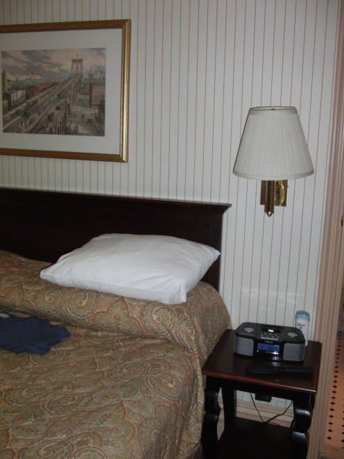 Room of the Hotel Wolcott with an alarm clock