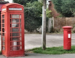 English telephone and letter boxes.