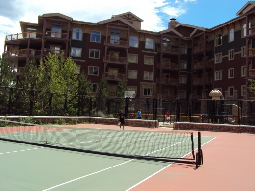 If tennis is your thing (or basketball, for that matter)  why not on a sunny day up in the mountains?