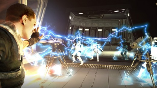 The Force Unleashed, showing the main character... Unleashing the force