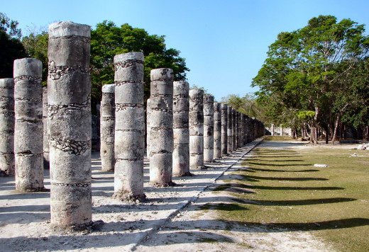 Thousand Columns at The Temple of the Warriors in Chichen Itza.