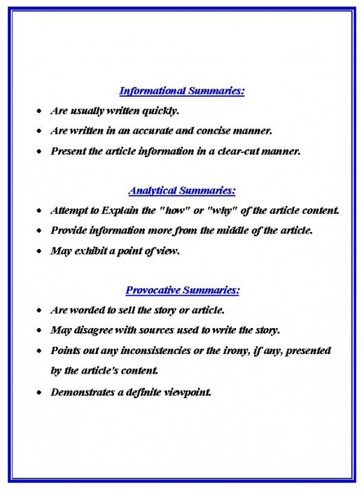 What to Include in each type of summary.