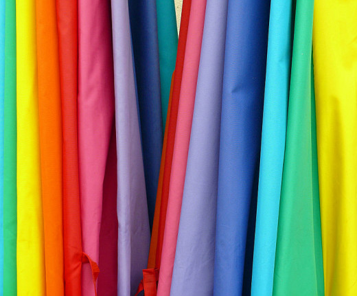 Rainbow colored Fabric hanging verticle
