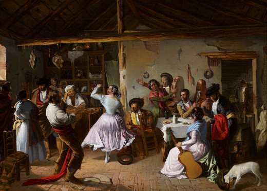 Dance at a country inn, by Rafael Benjumea (1845-1873)