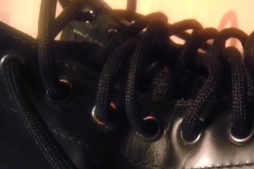 After years, the black eyelets of your DMs will become worn away and the metal beneath will show. Beautiful, yes?
